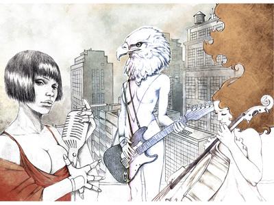 silver stone illustration hand-drawn music