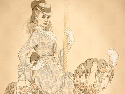carousel illustration hand-drawn character