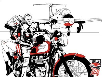 Right Stuff illustration hand-drawn ink moto airplane
