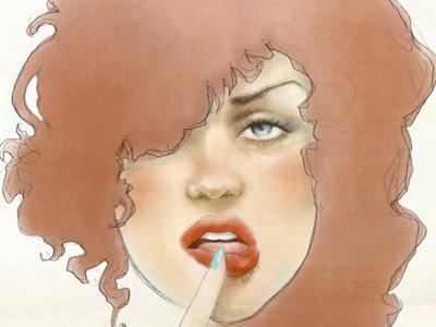 Rose illustration girl portrait sketch