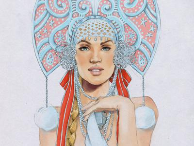 russian girl illustration girl folk