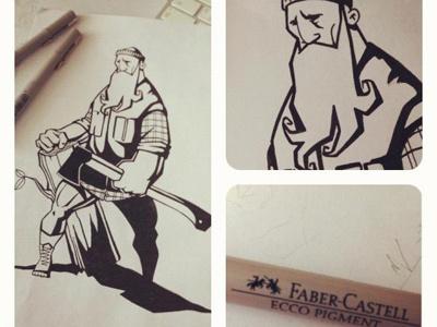 lumberjack illustration hand drawn