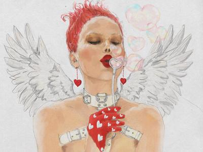 St. Valentine's Day hand drawn love painter6 heart