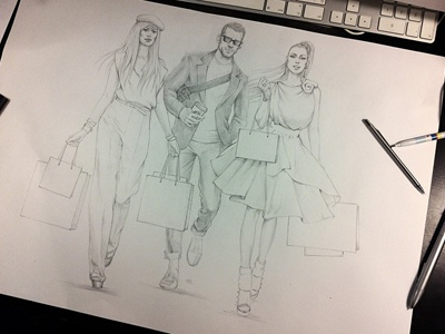 shopping hand drawn fashion shopping models