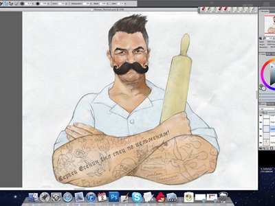 process of Pelman hand drawn mustaches painter cook
