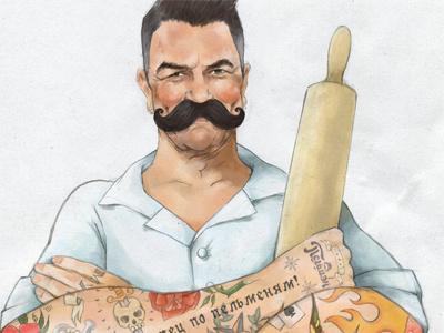 Pelman illustration hand drawn painter man cook
