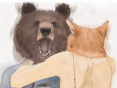 noname illustration hand drawn painter man bear cat love photographer