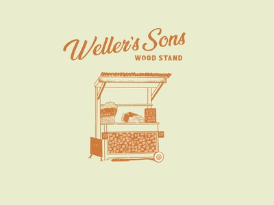Weller's Sons Wood Stand drawing firewood illustration design