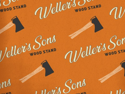 Weller's Son Wood Stand Logo drawing typography branding illustration design