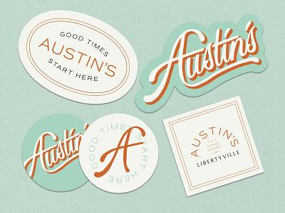 Austin's Eatery Stickers food stickers restaurant eatery branding illustration design