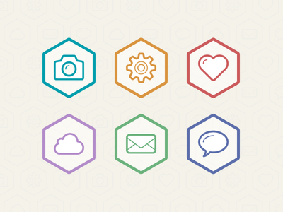 Flat Icons icons settings heart photo camera cloud mail email bubble chat talk rebound