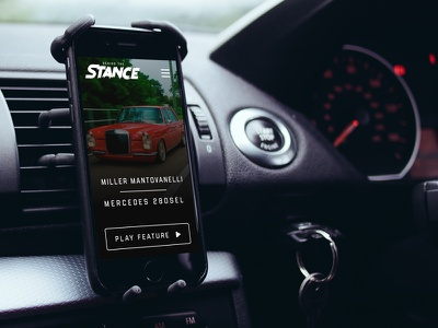 Behind the Stance Mobile site mockup iphone ios mercades video film automotive cars stance
