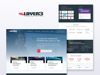 Website redesign for Layer 3 Comm. infrastructure hosting cyber security information technology it redesign website design website