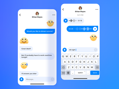Text and Voice Chat design interface ui