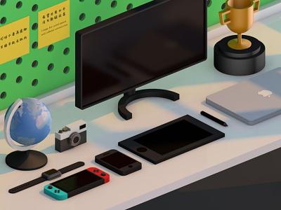 3D Desk design c4d