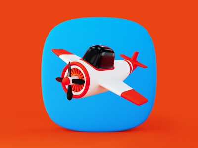 3D Airplane Icon design c4d 3d