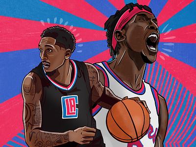 Tonight's Clippers vs. Sixers nba illustration sports illustration basketball nba josh richardson lou williams