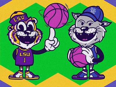 LSU 🆚 Kentucky college basketball basketball sports illustration wildcat tiger character design lsu