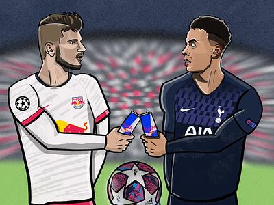Red Bull Leipzig 🆚 Tottenham illustration sports football soccer red bull timo werner dele ali