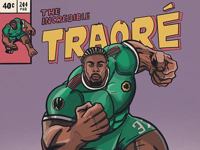 Adama Traoré like The Hulk wolverhampton wolves adama traore europa league football illustration comic hulk