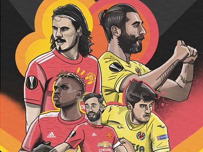 Europa League Final europa league villarreal manchester united football illustration sports soccer football illustration