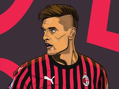 Krzysztof Piatek illustration serie a ac milan soccer calcio football