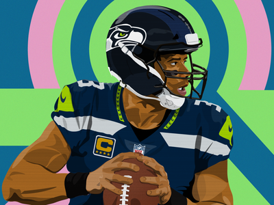 Russell Wilson for Sideline Sports app football vector illustration sports nfl russell wilson seattle seahawks sideline sports
