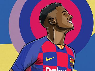 Ansu Fati Portrait sports illustration portrait football champions league fc barcelona ansu fati