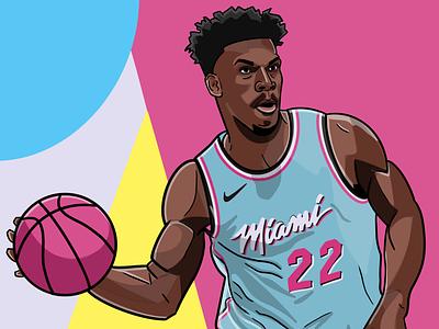 Jimmy Butler illustration portrait basketball miami heat nba jimmy butler miami