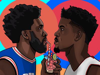 76ers 🆚 Heat illustration basketball nba philadelphia 76ers miami heat joel embiid jimmy butler shirley temple