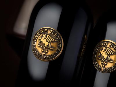 Custom metal wine label for Libera Estate