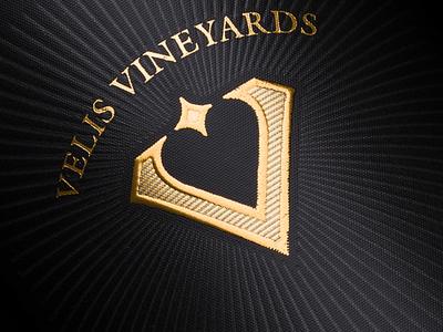 Velis Vineyards logo on wine label strategic branding wine wine label wine branding best wine label wine packaging jordan jelev the labelmaker wine label design logo
