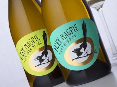 Picky Magpie by the Labelmaker magpie wine label magpie on wine creative branding brand naming wine brand creation stratsin winery picky magpie wine label designer wine label strategic branding wine branding wine packaging wine label design best wine label the labelmaker jordan jelev