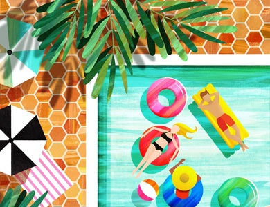 Aerial Pool bathing suit swim float tan sun summer inner tube texture pool illustration