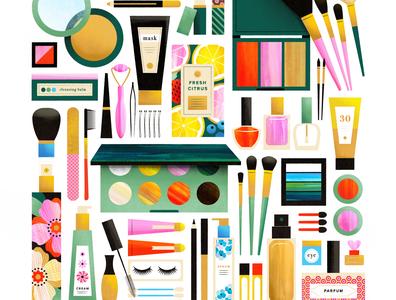 Makeup Flatlay eyeliner lipstick nail polish pretty eye shadow lady woman girl blush flat illustration flatlay makeup