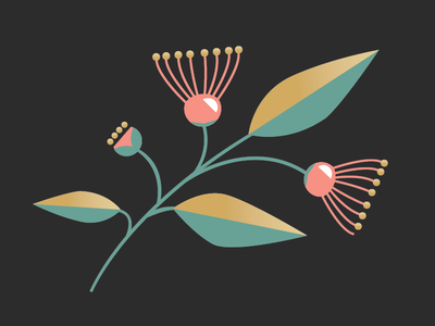 Eucalyptus Blossom  flower blossom eucalyptus clean simple gold vector