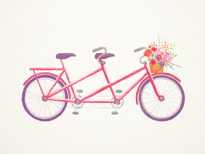 Cute bike for something in the works texture tandem basket two-person bicycle bike flower floral watercolor