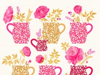 Peonies in coffee mugs