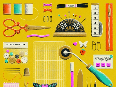 Some good old fashioned sewing supplies buttons string zipper pin cushion scissors sew texture retro vector illustration