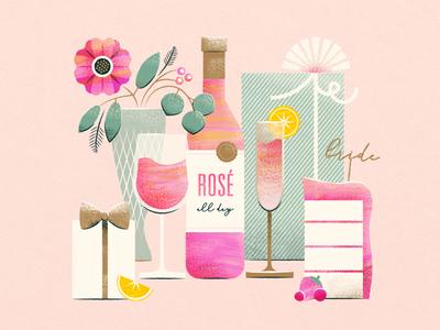 Rosé All Day invitation cake gift flower champagne wine bridal shower bride texture illustration