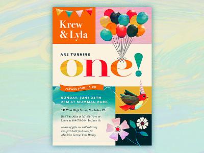 One! one flower bird retro balloon children kids party birthday invitation illustration