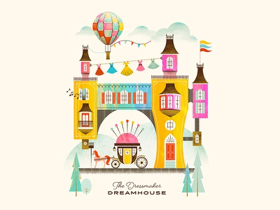 The Dressmaker Dreamhouse vintage texture fairytale dresses pin cushion sew horse carriage hot air balloon retro house illustration