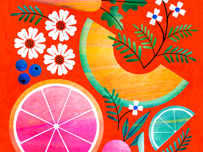 Bright foods & florals blueberry lime beet carrot melon grapefruit cantaloupe botanical flower illustration