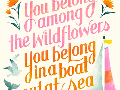 Wildflowers print poster sailboat floral hand-lettering seagull boat sea wildflowers tom petty illustration lettering
