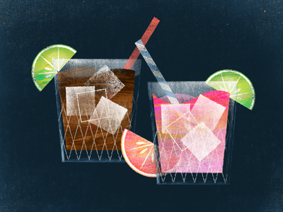 Cocktail Hour alcohol retro straw grapefruit lime drinks illustration texture cocktail bar