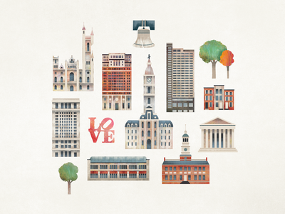 Philly Map Icons city tree architechture building texture philadelphia philly icon map illustration