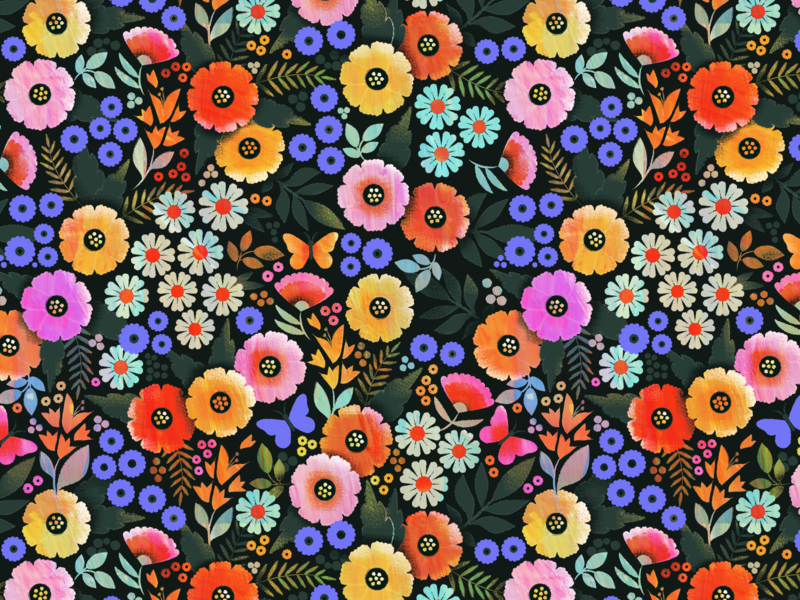 Ditsy florals textile illustration flower vector fabric ditsy floral surface design pattern