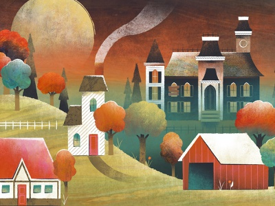 Haunted House spooky halloween trees countryside town hillside landscape vector illustration house haunted
