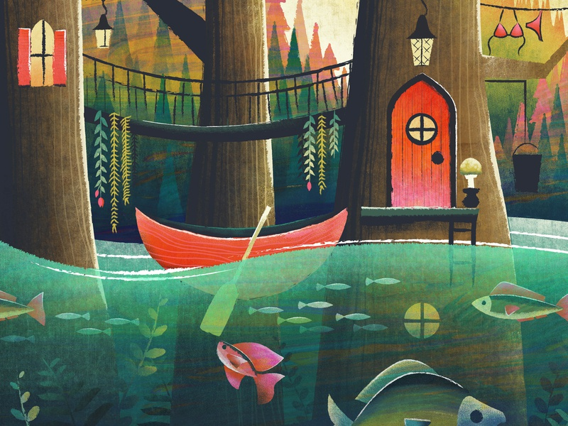 Just an illustration of my house mysterious fairytale pond fish canoe forest swamp illustration