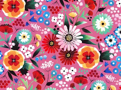 Colorful florals colorful fabric textile pattern design surface design botanical flower floral illustration pattern